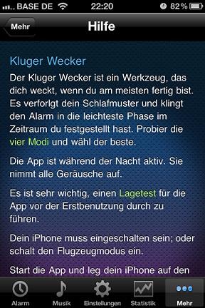 Hilfeseite von Smart Alarm (IPhone App)